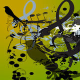 Music Bird. Distorted music notes over a green background with blobs, floral designs and birds. Fully scalable vector illustration Royalty Free Stock Images