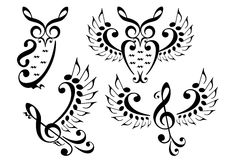 Music bird and owl, vector set Royalty Free Stock Photography