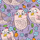 Music bird seamless pattern Royalty Free Stock Photos
