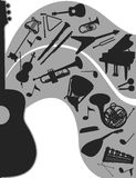 Music. Composition with musical instruments. Music. Black-and-white compositions with musical instruments vector illustration
