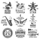 Music Black White Emblems Royalty Free Stock Image