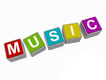 Music in block letters. Set of colored, 3D block or cube letters spelling the word music Stock Photo