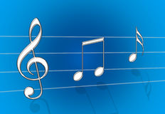 Music Blue. Chrome metal steel music notes on blue gradient background royalty free illustration