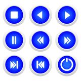 Music blue buttons set. Vector Royalty Free Stock Photo