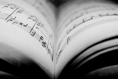 Music book. Old music book. Macro note Royalty Free Stock Image