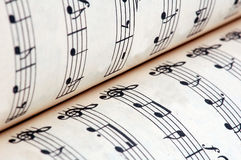 Music book and notes Royalty Free Stock Photography
