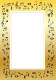 Music border. Golden border with music signs illustration Stock Photography