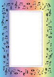 Music border. Rainbow border with music signs illustration Stock Photo