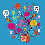 Music box. Happy colorful music box illustration Royalty Free Stock Photo