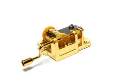 Music box. Golden music box on white background Royalty Free Stock Photography