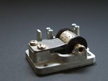 Music Box detail. Traditional hand cranked music instrument close up detail Royalty Free Stock Photo