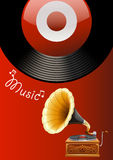 Music box. Music poster with juke box and recorder royalty free illustration