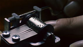 Music Box, a small hand-operated. Close up stock video footage