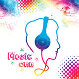 Music Boy. Abstract colorful ,boy silhouette from headphone cord ,music concept background Stock Images