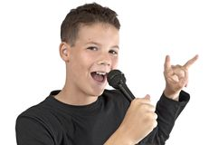 Music boy in black shirt. Boy beauty singing with white background Royalty Free Stock Photo