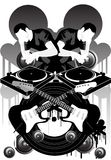 Music Brand X. Illustration with dj's and other musical elements stock illustration