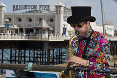 Music in the Brighton pier. BRIGHTON, UNITED KINGDOM - CIRCA JULY 2009 - When the summer arrives thousands of tourists run to the English south coast of Brighton Royalty Free Stock Photos