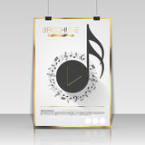 Music brochure cover design. Flyer, poster, booklet template stock illustration