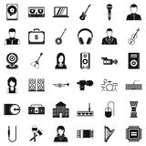 Music business icons set, simple style. Music business icons set. Simple set of 36 music business vector icons for web isolated on white background Stock Photo