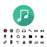 Music button icon set. Music button  icon set for media Royalty Free Stock Image