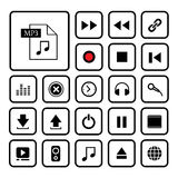 Music button icon set. Music button  icon set for media Stock Photos