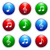Music button. Illustration of music button on white background Royalty Free Stock Images