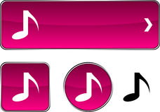 Music  button set. Royalty Free Stock Photos