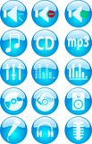 Music buttons. Collection of color buttons for web. Music icons for internet stock illustration