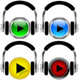 Music buttons. Illustration of music buttons. Headphones and play buttons Stock Photos