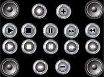 Music buttons. Illustration with music buttons (play, pouse, stop Stock Image