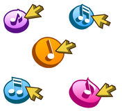 Music Buttons. 3D music selection button with arrow Royalty Free Stock Photos