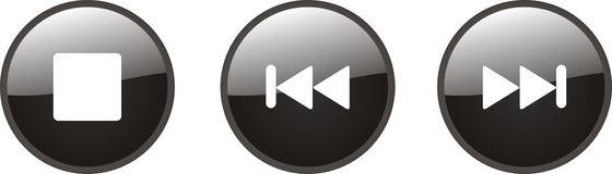 Music buttons. Stop, forward and backward buttons for web Royalty Free Stock Images