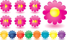 Music buttons as pink flowers Royalty Free Stock Photo
