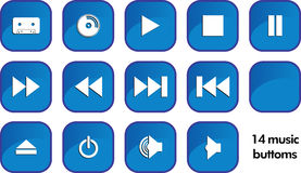 14 music buttons. In one case royalty free illustration