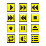 Music buttons (pixel game style) Royalty Free Stock Image
