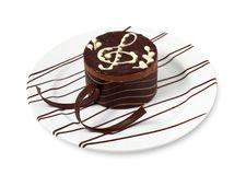 Music cake. The Cookie with music decoration Royalty Free Stock Photography