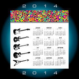 2014 music calendar. Illustration of 2014 music calendar with abstract design and set of electric guitars Royalty Free Stock Images
