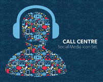 Music call center of social media icons. Vector set of social media icons music call center, customer service, online support banners in trendy flat style mic Royalty Free Stock Photos