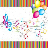 Music card. Birthday card. Balloons colorful and note Stock Photography