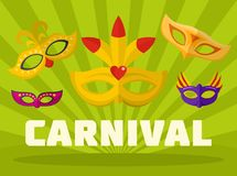 Music carnival logo, flat style. Music carnival logo. Flat illustration of music carnival logo for web Vector Illustration