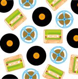 Music carriers outdated. Music disks,cassettes and plates pattern on white background Royalty Free Stock Images