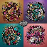 Music cartoon vector doodle illustration. Colorful detailed desi Royalty Free Stock Images
