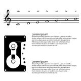 Music, cassette, Abstract treble clef, notes Vector background Royalty Free Stock Image