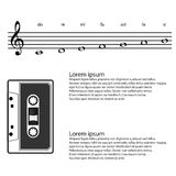 Music, cassette, Abstract treble clef, notes Vector background Royalty Free Stock Photos