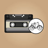 Music cassette bicycle vintage background desgin Royalty Free Stock Photo