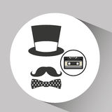 Music cassette hat mustache bow tie vintage background desgin Royalty Free Stock Images