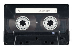 Cassette Tape. Picture of a retro, dusty, used, old cassette tape from 70s 80s 90s. It reminds of the music history Stock Image