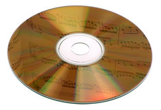 Music CD. Gold CD with reflection of music by J.S. Bach, isolated on white background with paths stock photography