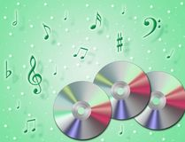 Music Cd. Rom with notes in the air and colourful background Royalty Free Stock Photo