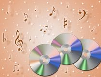 Music CD. An illustration about music CD and notes in the air Royalty Free Stock Image